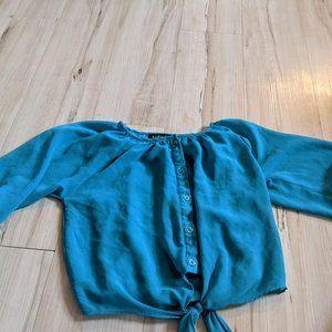 Kidpik Top Shirt Button Down Tie Up Green Longslee